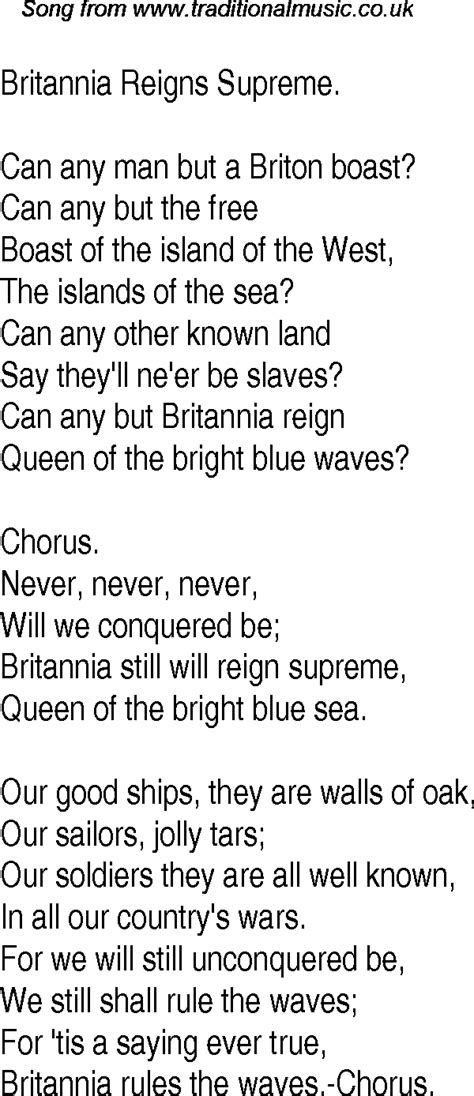 Old Time Song Lyrics for 11 Britannia Reigns Supreme