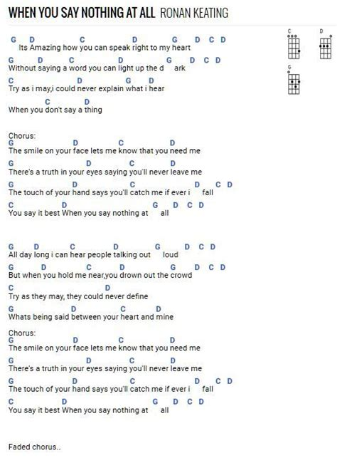 When You Say Nothing At All | Guitar chords and lyrics
