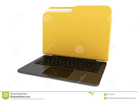 Laptop Computer With Folder As Screen Stock Illustration