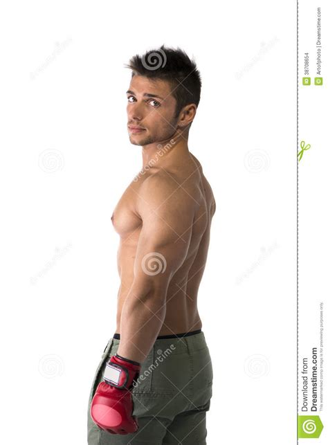 Muscular Man With Mixed Martial Arts Gloves (MMA) Stock