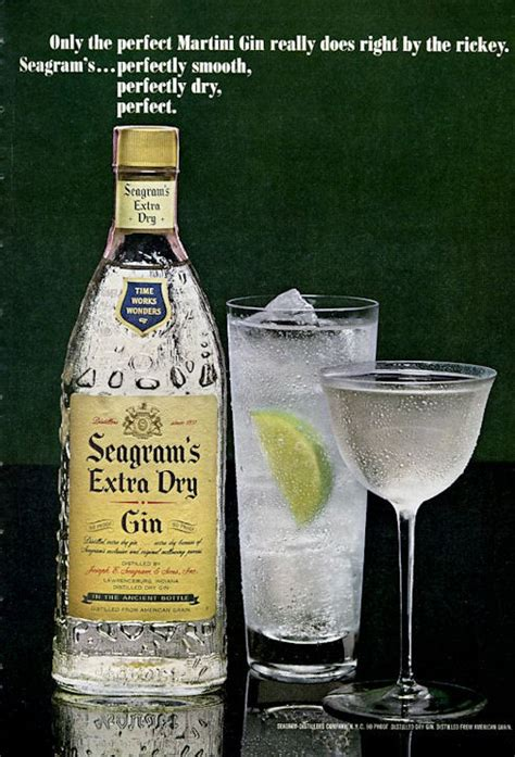 1965 Seagram's Extra Dry Gin Martini Vintage Bottle PRINT