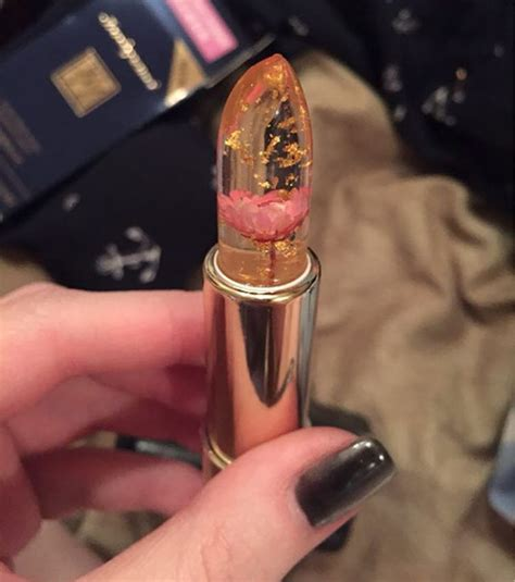 Clear Lipstick With Real Flowers Inside That Changes Color