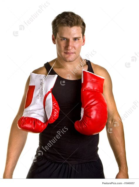 Picture Of Boxer With Gloves Tied Around Neck